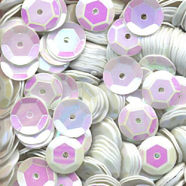 Pailletten, rund, gewölbt, 6 mm, 1400 St, weiß-iris