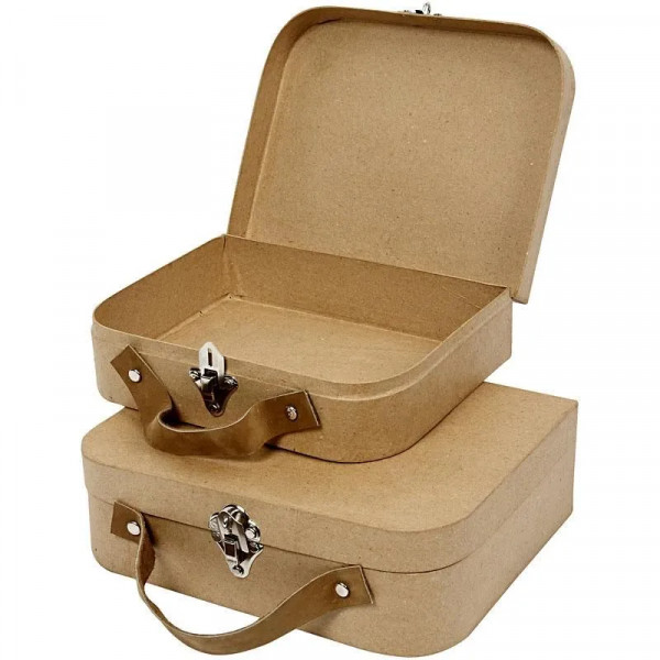 Koffer aus Pappmaché, 2er Set