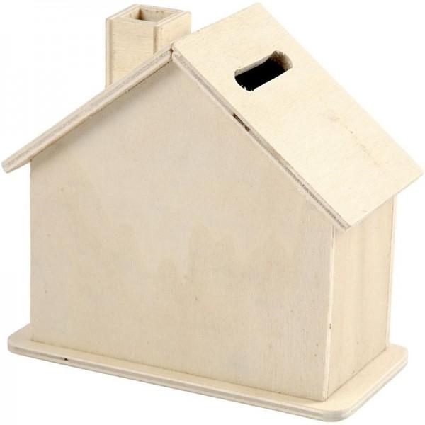 Spardose Haus aus Holz, 10 x 10 x 5,4 cm