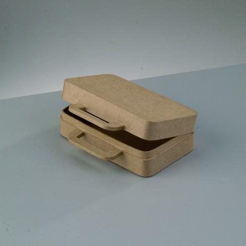 Box Koffer, aus Pappmaché, 16x12x5 cm