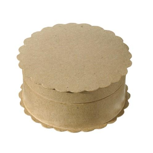 Box, Wellenrand rund aus Pappmaché, 12,5 x 5,5 cm