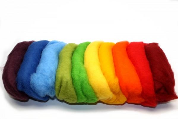Merino-Filzwolle, im Vlies, 100 g, 10 Regenbogenfarben