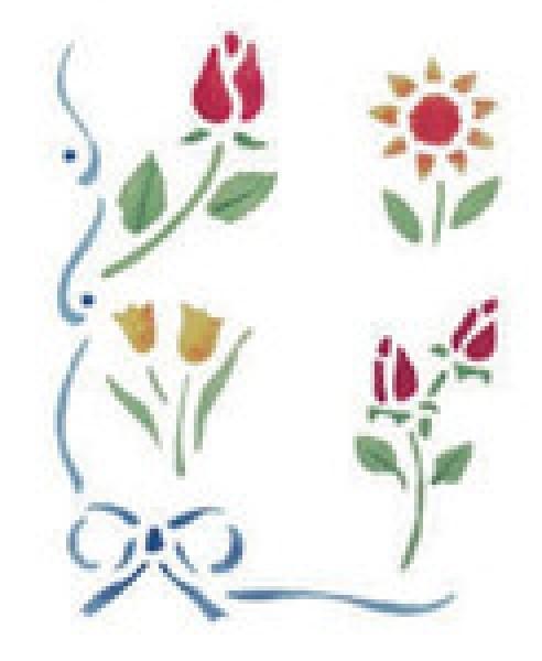 Motiv-Schablonen Blumen mit Schleife 18x24 cm