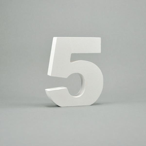 """MDF- Zahlen """"5"""", weiß"""