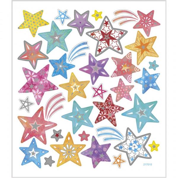Sticker, Blatt 15x16,5 cm, ca. 31 Stück, bunte Sterne