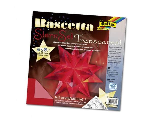 Faltblätter Bascetta-Stern, 30 x 30 cm, Transparentpapier rot