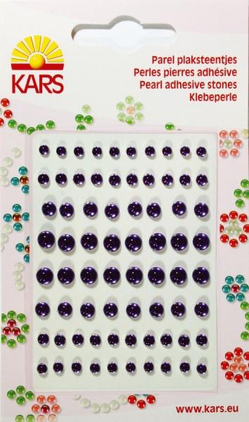 Klebeperlen, 72 Stück, verschiedene Größen, lila