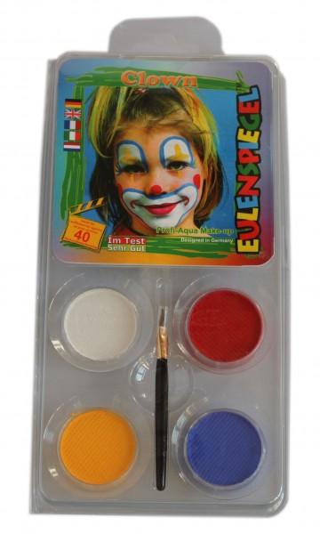 Eulenspiegel Schminkfarbe Motiv-Set Clown, 4 Farben