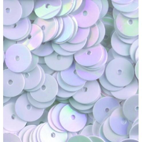 Pailletten, rund, flach, 6 mm, 4000 St, weiß