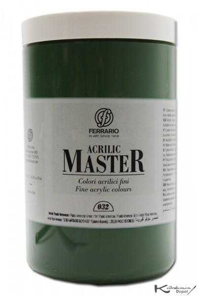 Ferrario Acrilic Master Acrylfarbe, 1000 ml, Zinnobergrün dunkel