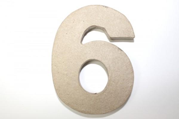 Zahl 6, 10 x 1 cm, aus Pappmachè