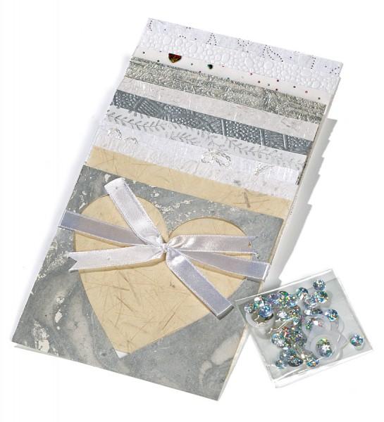 Naturpapierset mit Kleinteilen, silber