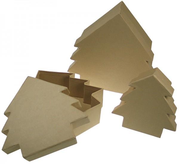 Deckeldose Tanne, aus Pappmaché, 3-teilig