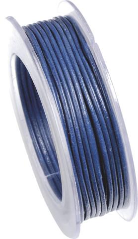 Lederriemen, 2 mm Ø - 5 m, auf Rolle, Rindleder , blau