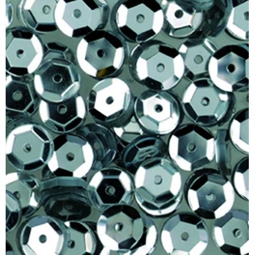 Pailletten, rund, gewölbt, 6 mm, 4000 St, silber