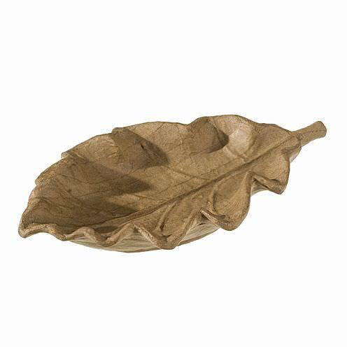 Schale aus Pappmachè, Eichenblatt, 17 x 30 x 5 cm