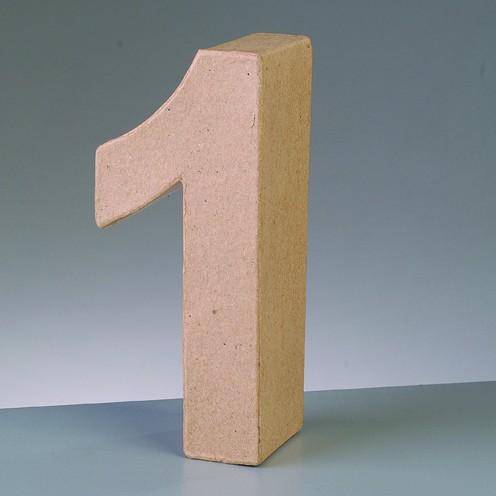 Zahl 1, 10 x 3 cm, aus Pappmaché