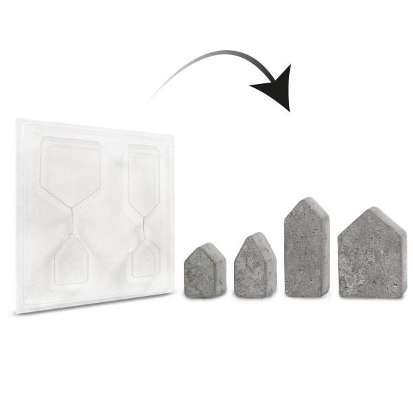 Gießform Häuser, 4 Stück, 5,5x10,5 cm - 3 cm tief