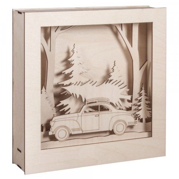 Holzbausatz 3D-Motivrahmen, Auto, 30x30x6,6cm