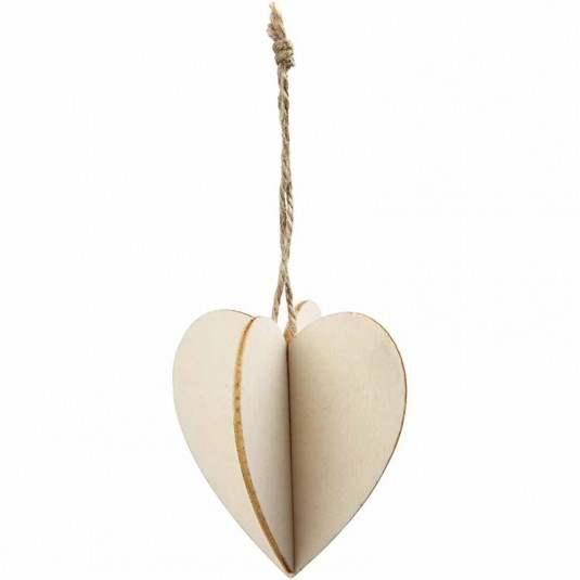 3D Anhänger Herz, aus Holz, 3 Stück