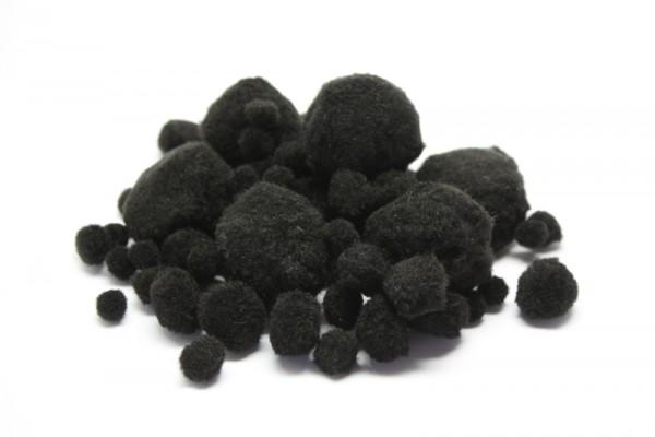 Pompons-Mix, Ø 1 - 4,5 cm, 100 Stück, schwarz