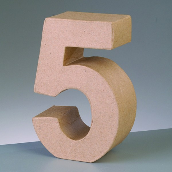 Zahl 5, 5x2 cm, aus Pappmaché