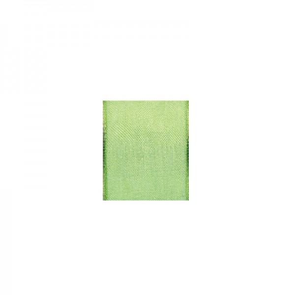 Chiffonband mit Drahtkante, 15mm breit, 5m lang - hellgrün