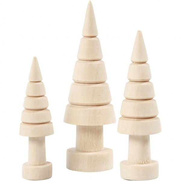 Holz-Tannenbaum - Sortiment, 3 Stück