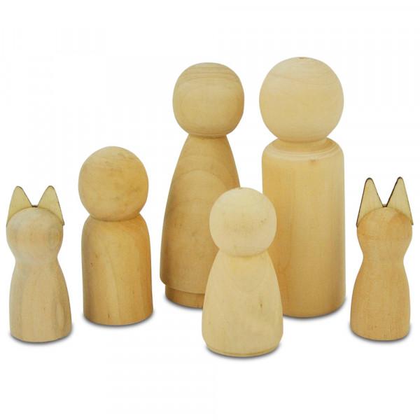 Figurenkegel aus Holz, 6 Stück sortiert, natur