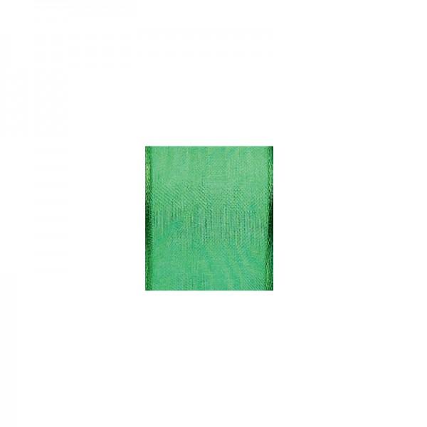 Chiffonband mit Drahtkante, 15mm breit, 5m lang - grün