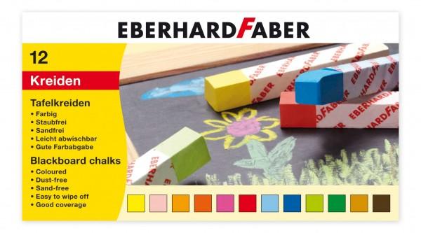 EBERHARD FABER Tafelkreide, 12 Stangen, farbig