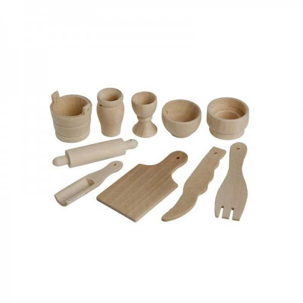 Mini Küchengeräte, aus Holz, 50-teilig
