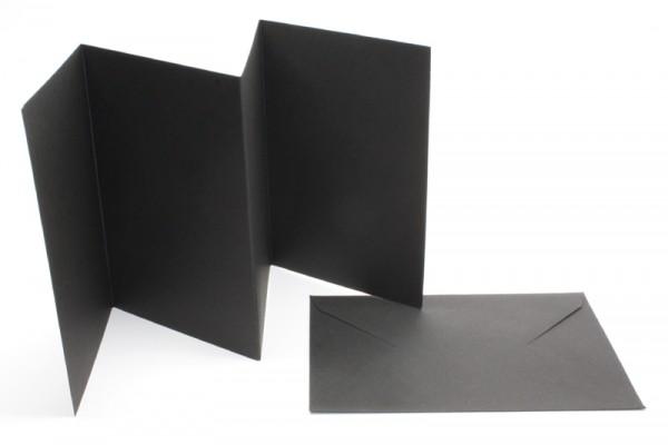 Leporello-Karten, 3 Karten, 3 Kuverts, schwarz
