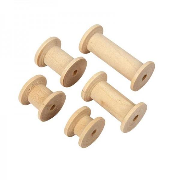 Spule, aus Holz, Ø 2,5 cm, 10 Stück sortiert