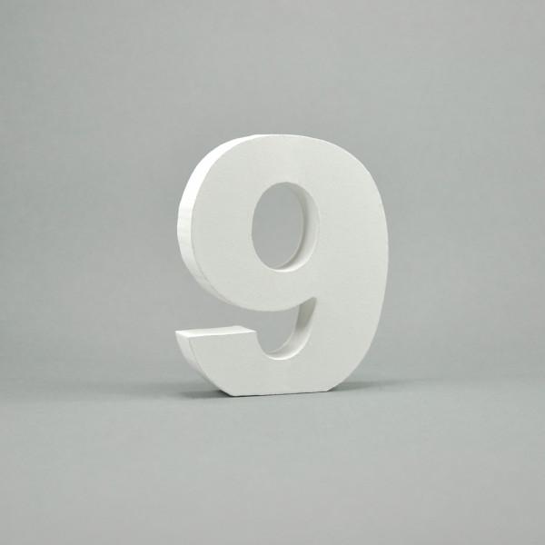"""MDF- Zahlen """"9"""", weiß"""