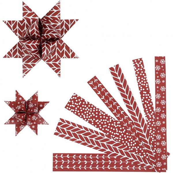 Fröbelstern-Streifen, Klassisch, rot-weiß, 15mm + 25mm