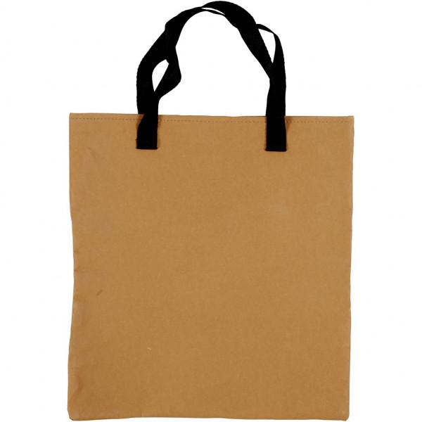 Einkaufstasche, Größe 35x38 cm, Hellbraun, aus Kunstlederpapier