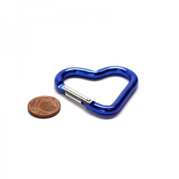 Aluminium Karabinerhaken Herz -Blau