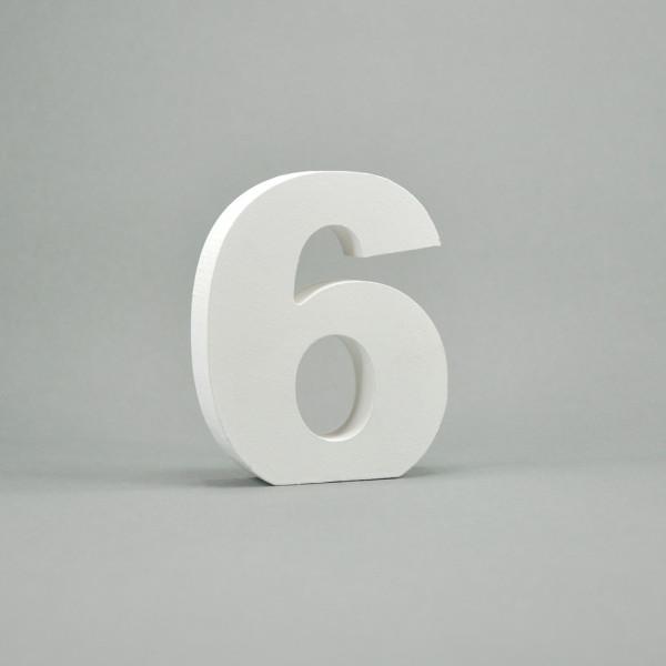 """MDF- Zahlen """"6"""", weiß"""