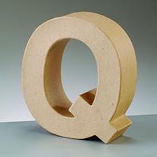 Buchstabe Q, 5x2 cm, aus Pappmaché