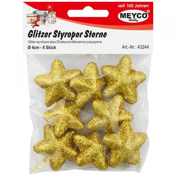 Glitzer-Styropor-Sterne, gold, 4cm, 8 Stk