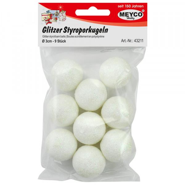 Glitzer-Styroporkugeln, Ø 3 cm, 9 Stück, weiß irisierend