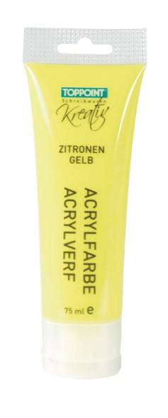 Toppoint Acrylfarbe, matt, 75 ml, Zitronengelb