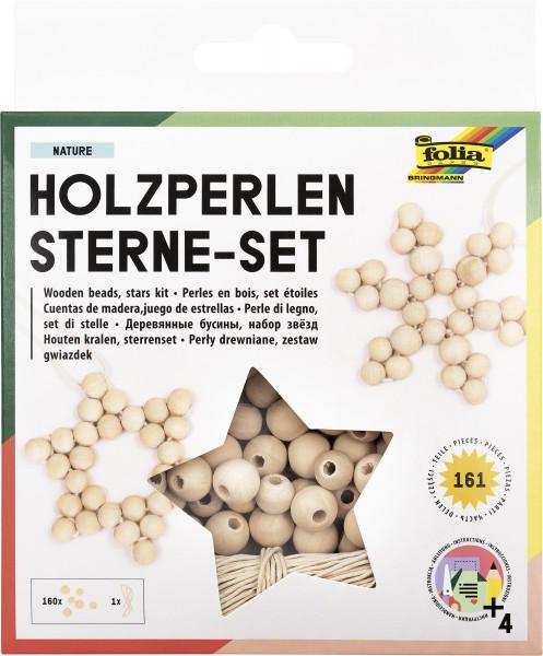 """Holzperlen-Sterne-Set """"Natur"""" 161 Teile"""