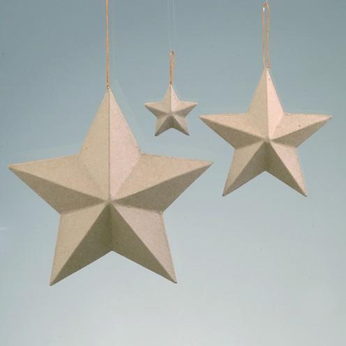 Stern, aus Pappmaché, 5-strahlig, Ø 8 cm