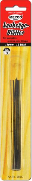 Laubsägeblätter, 12 Stück, 130 mm, Stärke 3