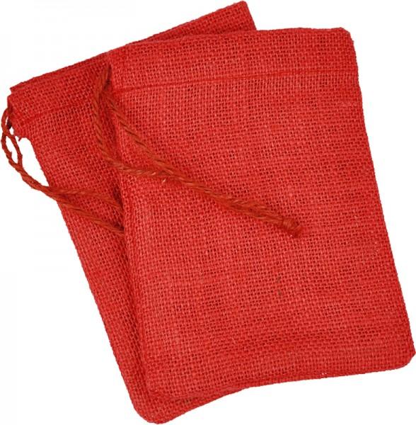 Jutebeutel/Jutesäckchen, 9x13 cm, rot