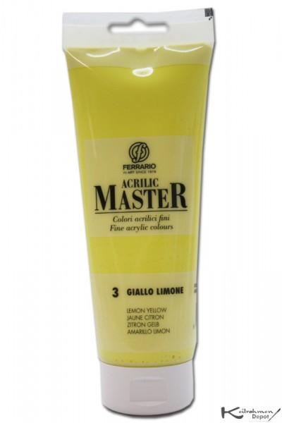 Ferrario Acrilic Master Acrylfarbe, 250 ml, Zitronengelb