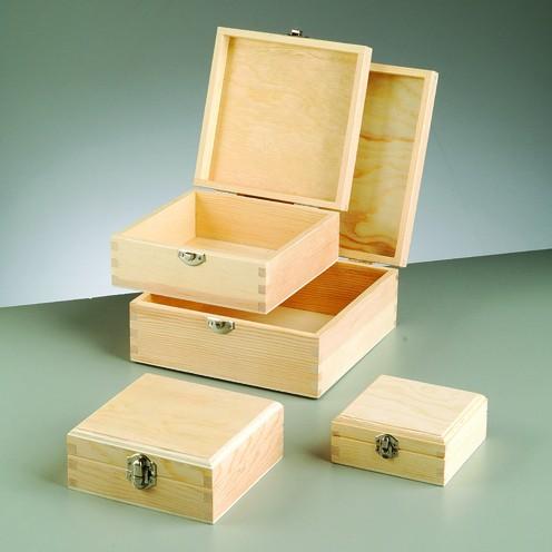 Holzboxen-Set, 4-teilig, 19 x 19 x 8,5 cm