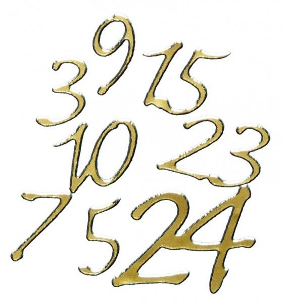 Sticker Adventskalenderzahlen 1-24, gold